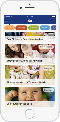 Screenshot from the Centre for Family Literacy's app, Flit!