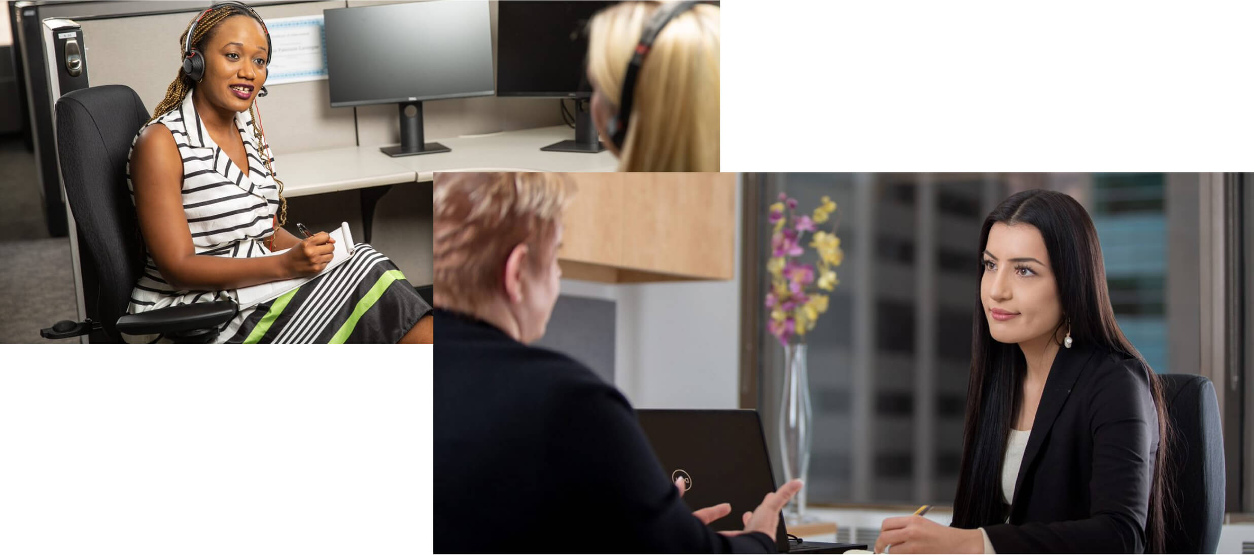 From left to right: two women facing each other and chatting in an office environment. Two women talking to each other while one woman is taking notes in an office.