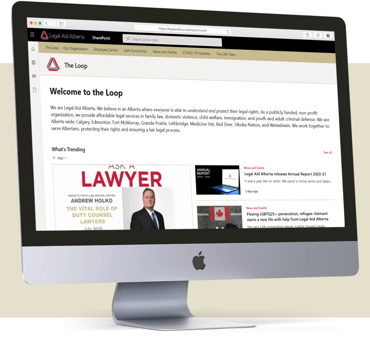 The home page of Legal Aid Alberta's digital workplace displayed on a monitor.